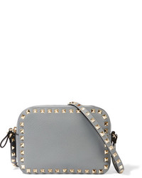 0b9f5cd644 ... Valentino The Rockstud Textured Leather Shoulder Bag Gray
