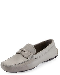 Grey Leather Driving Shoes