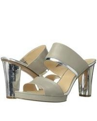 Grey Leather Heeled Sandals