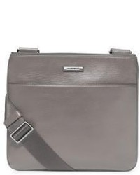 Grey Leather Messenger Bag