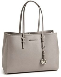 Grey Leather Tote Bag