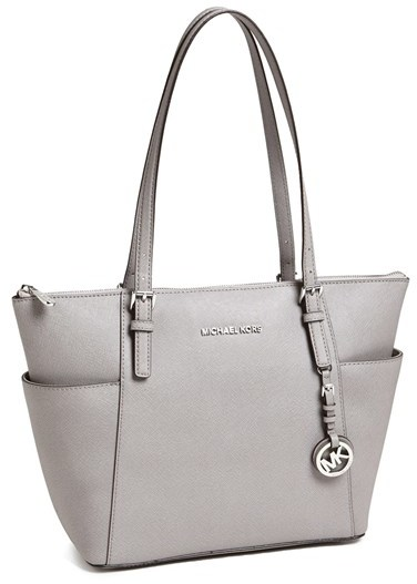 a61f2a0cf8efca ... ireland bags michael michael kors michl michl kors jet set leather tote  grey c1c28 b7cd3