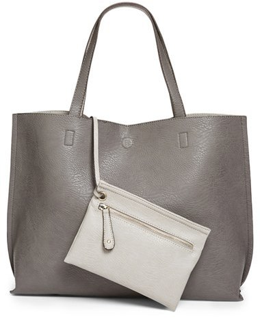 Reversible Faux Leather Tote Wristlet