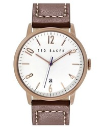 Ted Baker London Round Leather Strap Watch 42mm