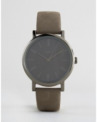 Timex Originals Tonal Leather Watch In Gray