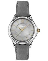 Salvatore Ferragamo Time Diamond Leather Strap Watch 33mm