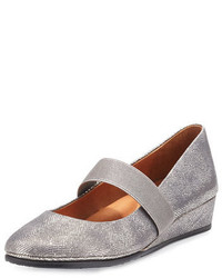Grey Leather Wedge Pumps