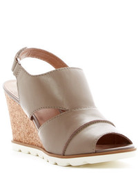Grey Leather Wedge Sandals