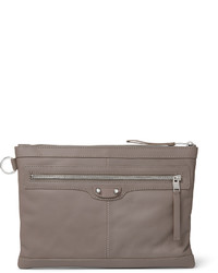 Grey Leather Zip Pouch