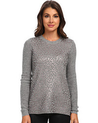 Grey Leopard Crew-neck Sweater