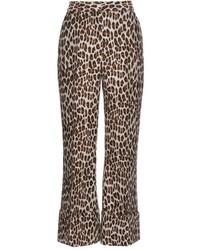 Stella McCartney Leopard Print Wool Blend Cropped Trousers