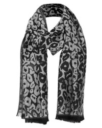 Topshop Leopard Jacquard Scarf Grey One Size One Size