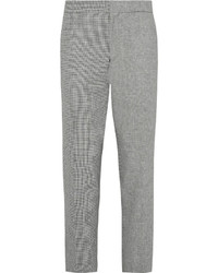 Grey fun mix slim fit checked linen and cotton blend trousers medium 559537