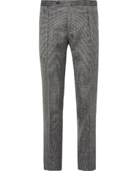 Thom sweeney grey slim fit wool silk and linen blend trousers medium 559538