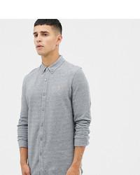 Farah Kompis Slim Fit Pique Jersey Shirt In Grey