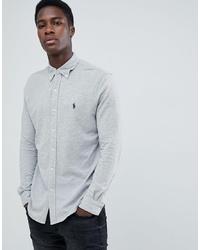 Polo Ralph Lauren Slim Fit Pique Shirt Player Logo In Grey Marl