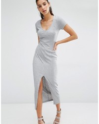 Parallel Lines V Neck T Shirt Maxi Dress In Soft Rib With Front Split
