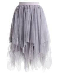 New Look Hanky Hem A Line Skirt Mid Grey