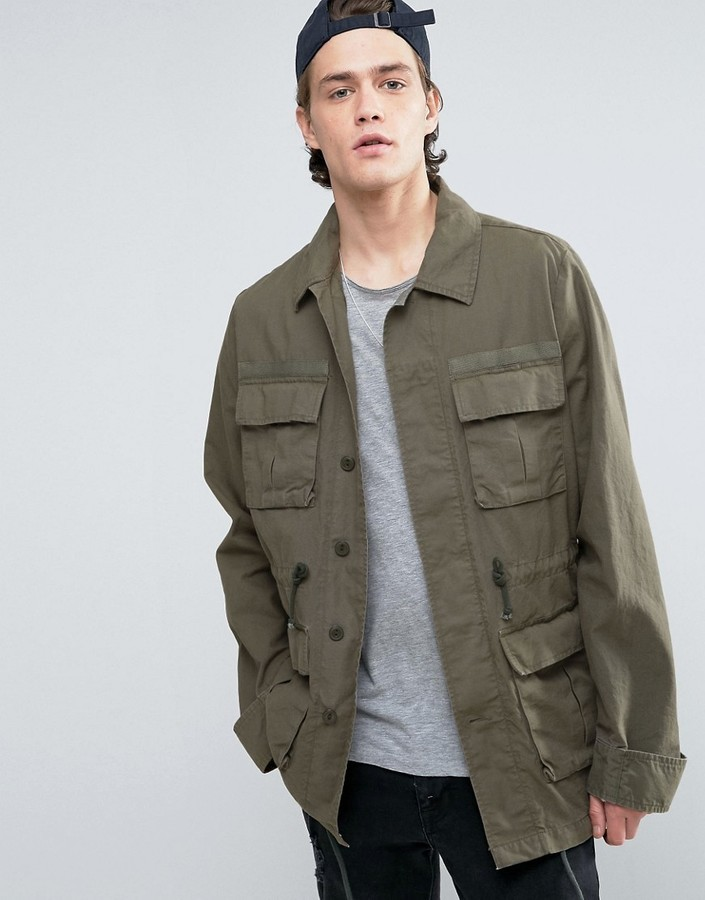 Asos Military Jacket With Drawstring In Khaki