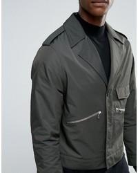 Asos Smart Military Jacket In Khaki Satin