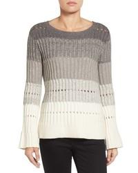 Ombre stripe pointelle sweater medium 1253200