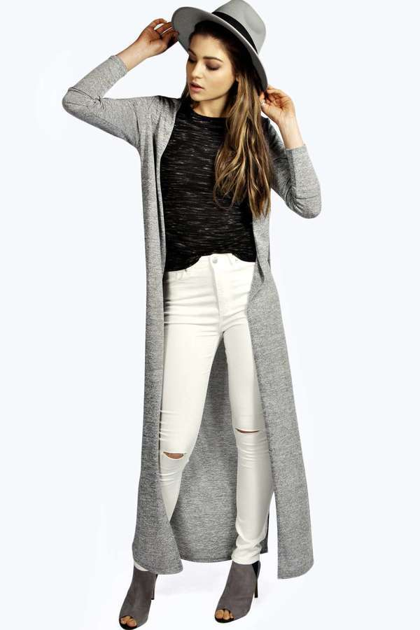 Boohoo Sammy Thigh High Side Split Maxi Cardigan | Where to buy ...