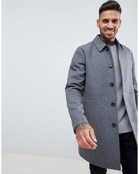 ASOS DESIGN Wool Mix Trench Coat In Light Grey