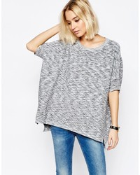 Paisie Ribbed Short Sweater With Batwing Sleeve