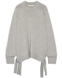 Tibi Tie Side Cashmere Sweater Light Gray