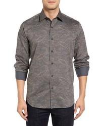 Grey Paisley Long Sleeve Shirt
