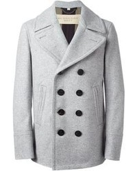 Men's Grey Pea Coat, Light Blue Long Sleeve Shirt, Blue Jeans ...