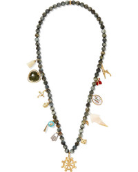 Carolina Bucci Recharmed Buongiorno 18 Karat Gold Multi Stone Necklace Dark Gray