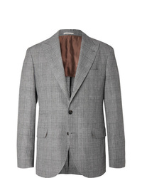 Brunello Cucinelli Grey Prince Of Wales Checked Wool Linen And Silk Blend Suit Jacket