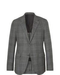 Ermenegildo Zegna Grey Slim Fit Unstructured Checked Cashmere Silk And Hemp Blend Blazer