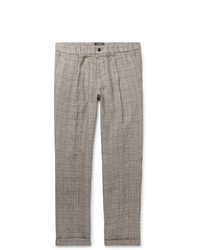 Todd Snyder Grey Slim Fit Checked Linen Trousers