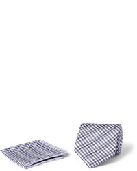 Gingham check silk tie and pocket square set medium 33187