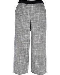 Grey Plaid Culottes