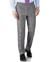 Charles Tyrwhitt Grey Check Slim Fit British Panama Luxury Suit Pants