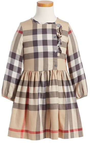 Burberry Girls Alaya Check Print Cotton Dress