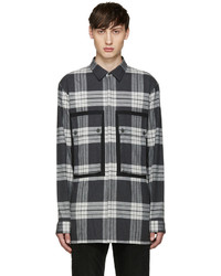 Grey Plaid Flannel Long Sleeve Shirt