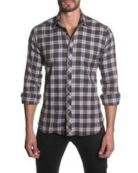 Trim fit long sleeve plaid sport shirt medium 421137