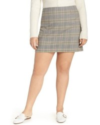 Grey Plaid Mini Skirt