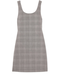 Grey Plaid Overall Dress