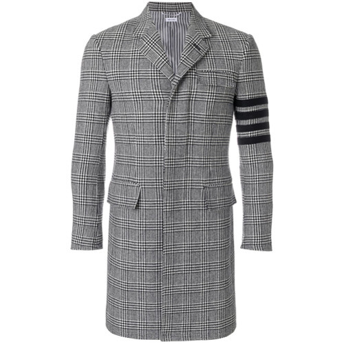 Thom Browne 4 Bar Prince Of Wales Check Wool High Armhole Chesterfield Overcoat