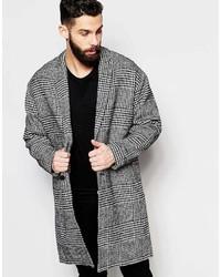 Asos Brand Drop Shoulder Check Overcoat