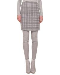 Akris A Jour Plaid Pencil Skirt