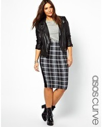 Asos Curve Pencil Skirt In Plaid Check Print