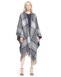 Saiome plaid wool blend poncho medium 344875