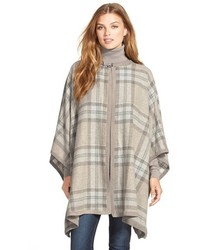 Suede trim plaid wool blend poncho medium 344882