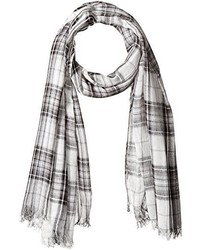 D&Y Yarn Dyed Plaid Oblong Scarf With Frayed Edge